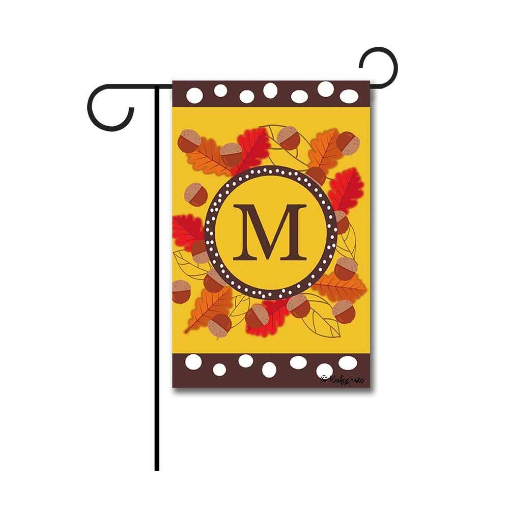 """Kafepross Welcome Fall Tree Leaves Monogram M Garden Flag Letter Initial Autumn Leaf Decor Banenr for Outside 12.5""""X18"""" Print Both Sides"""
