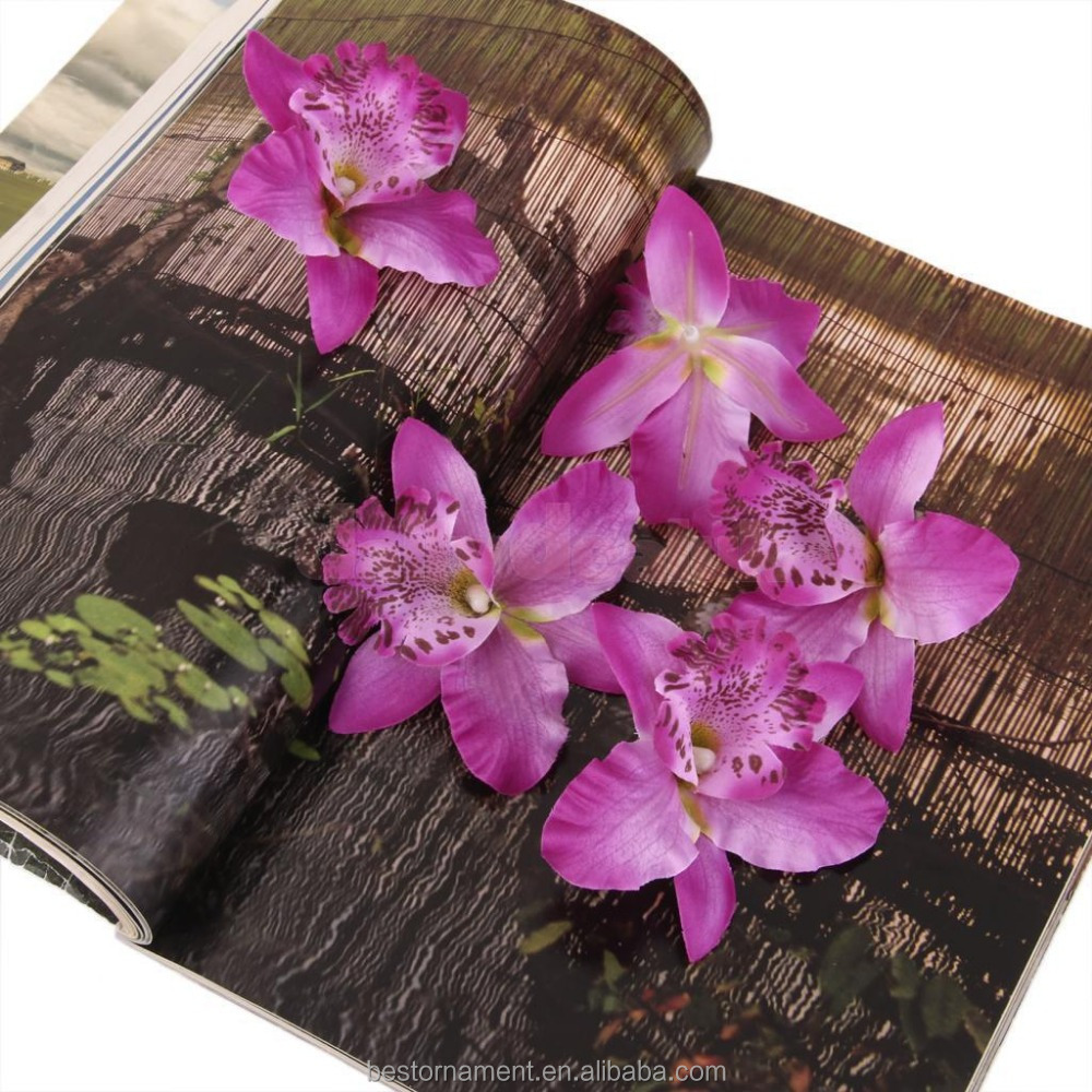 Purple Artificial Silk Orchid Dendrobium Flower Heads Hair Decor