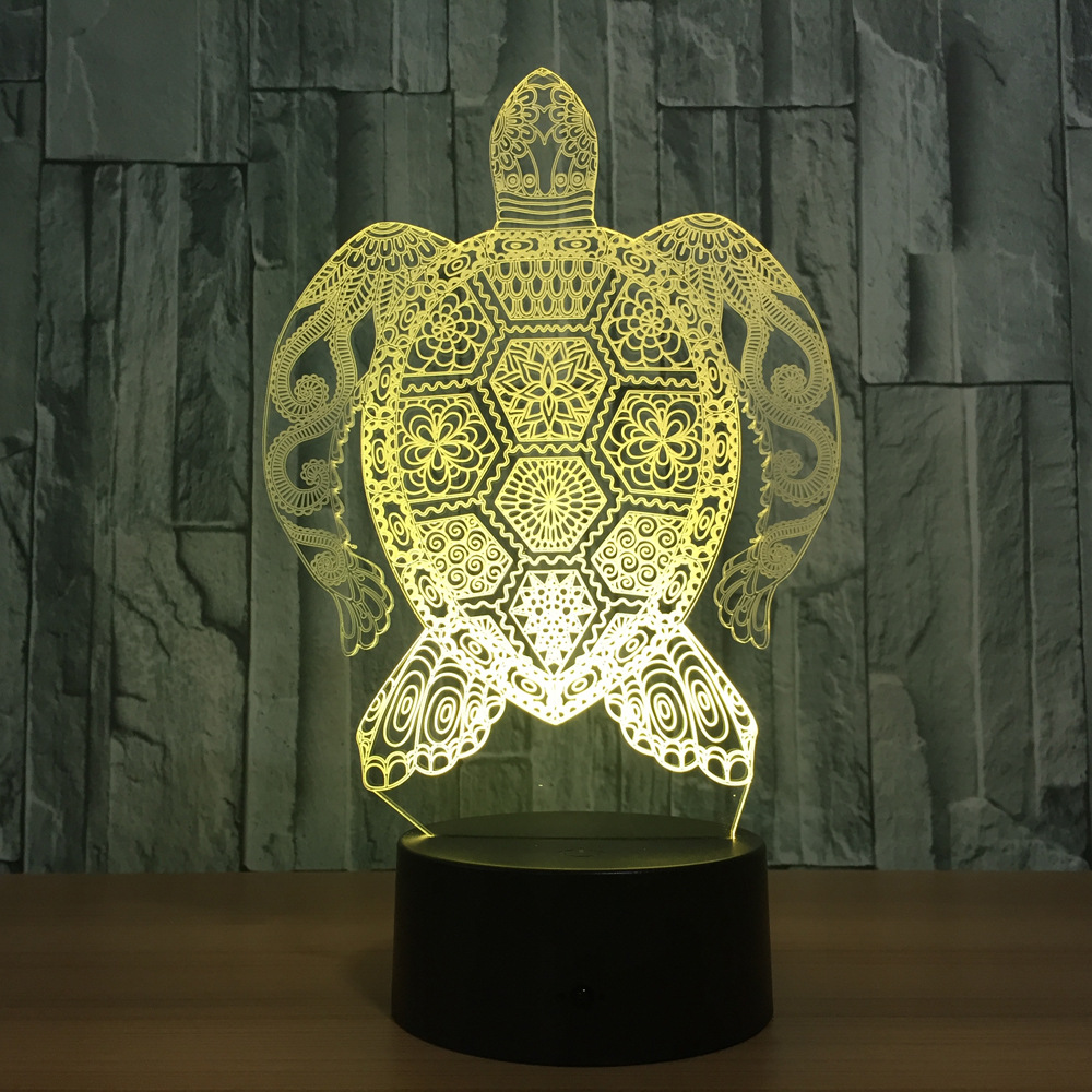 R057 sea turtle home decoration illusion night light 3d led lamp