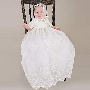 5b65372e6 With Hat Baby Girls Christening Baptism Dress Long Embroidery Glorious Ivory  Embroidered Netting Christening Gowns 0