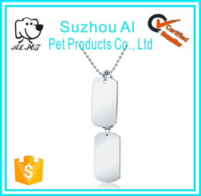 Hot Selling Stainless Steel Pendant Necklace Army Name Bulk Cheap Personalized Double Dog Tags
