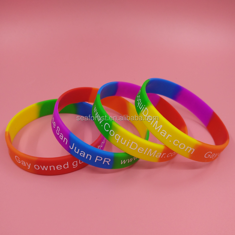 Custom Rainbow Silicone Bracelets Rubber Wrist Bands Colorful Wristbands Logo