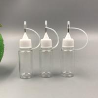 10ml PET empty e cig liquids plastic smoke oil dropper bottle with metal needle cap