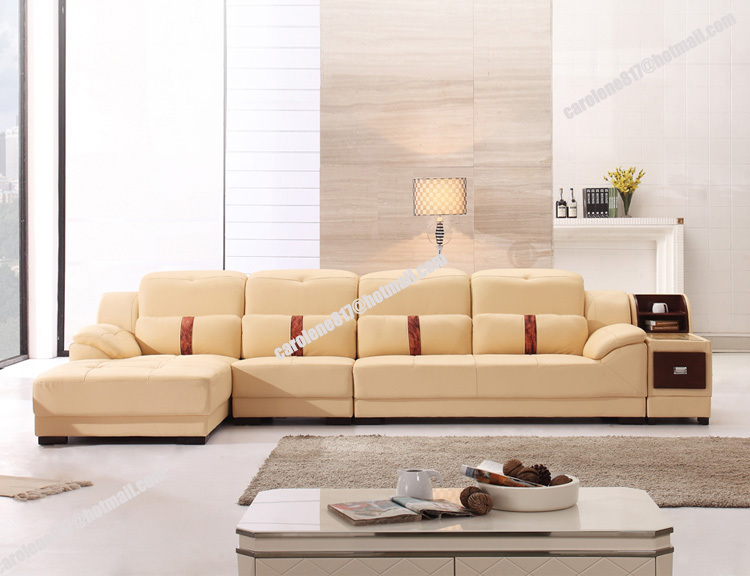 High Quality Modern Beige Cheap L Shaped Geniue Leather