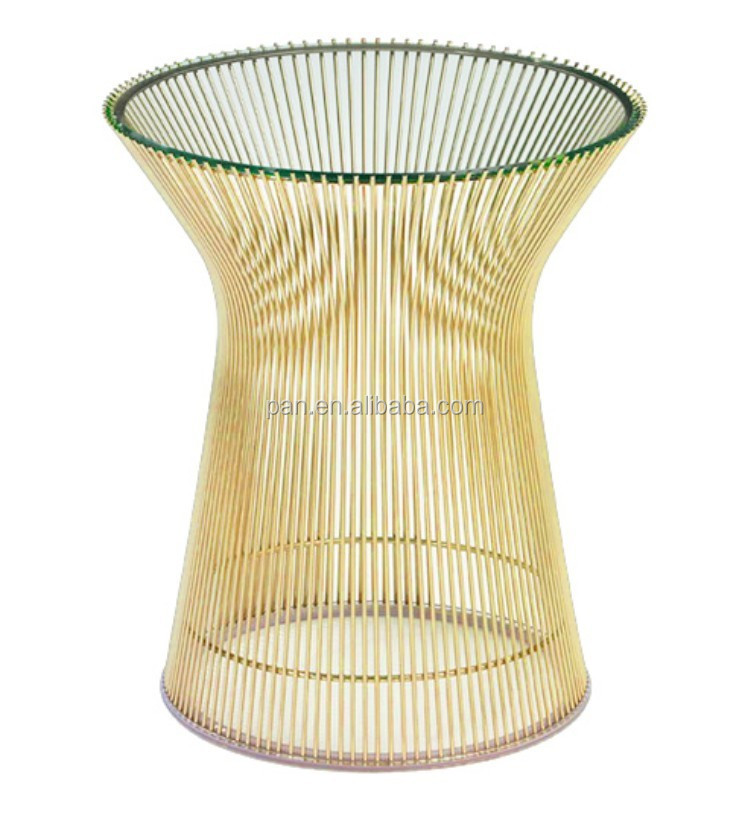 USA Style Replica Designer Furniture Gold Plated Steel Wire Rod Base  Platner Side Table