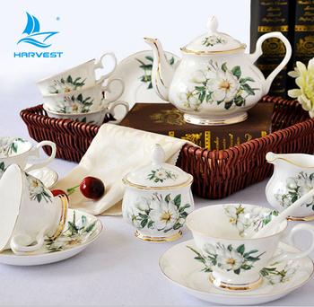 Best Price Fine Bone Ceramic Porcelain Gift Set Flower Coffee Cups Kit Tea Cup Sets Customise