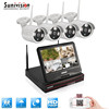 Wifi P2P 4 Ch HD 1080p CCTV Kit Wireless Security Camera System with built-in lcd monitor