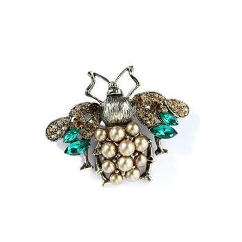 High Quality Rhinestone and Pearl Bee Brooches for Women Vintage Jewelry Fashion Insect Brooch Pin  1315266