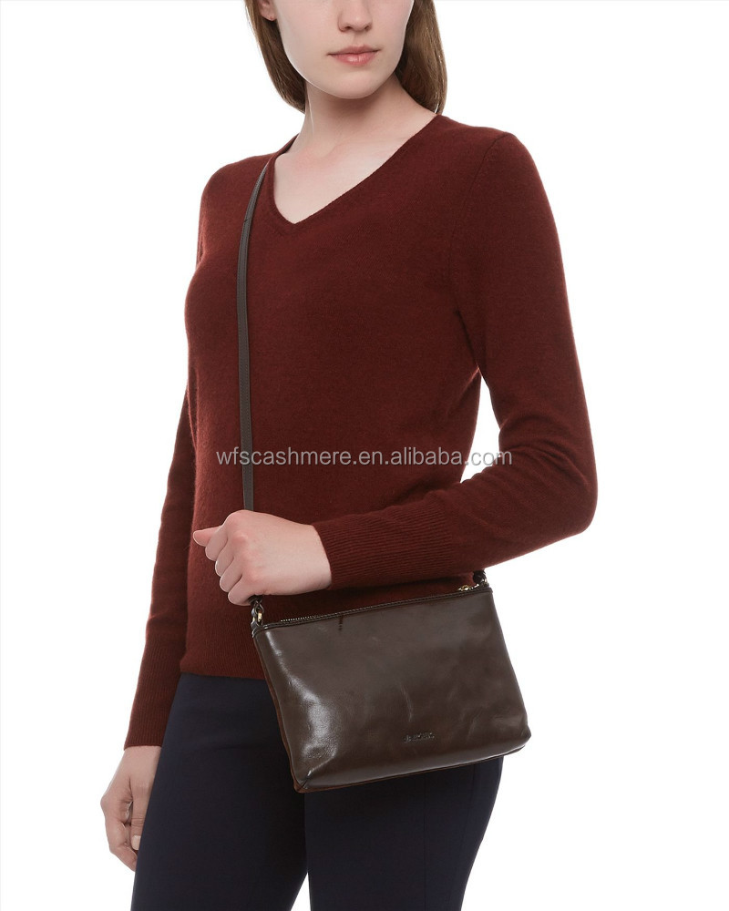 ladies knitted sweater jumpers solid color v-neck 100% cashmere sweater women