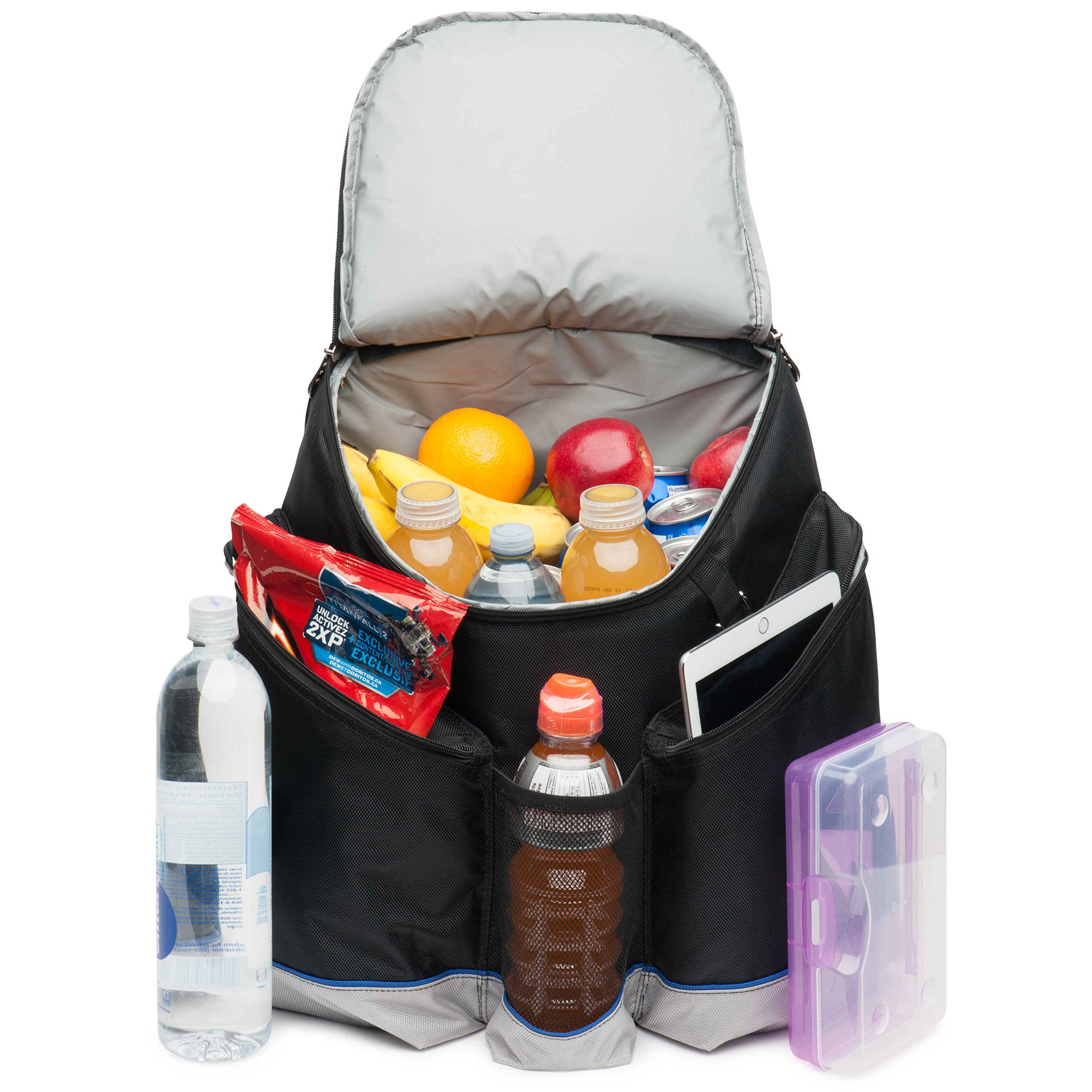 Very Large Cooler Backpack. Heavy Duty 1680D Fabric, High Density Thick Foam Insulation, 2 Heat Sealed Removable Thick Peva Liners, Large Padded Pockets, Strong Zippers. Hicking Camping Travel Beach