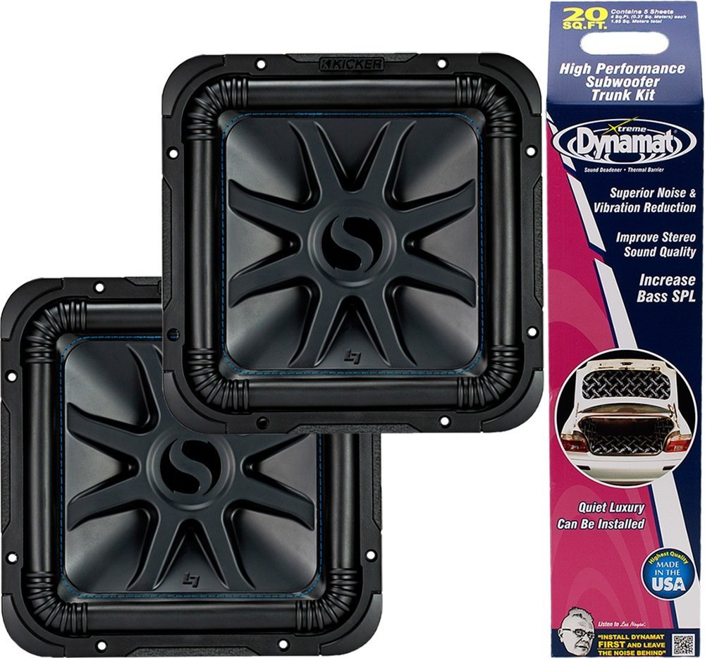 "Kicker Bundle of 3 Items: Two 44L7S104 10"" L7S Series Car Subwoofers w/Dynamat Xtreme Trunk Kit 19405"