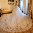 2019 Latest Design Heart Shape Back Royal Long Tail Wedding Gowns Wholesale Price