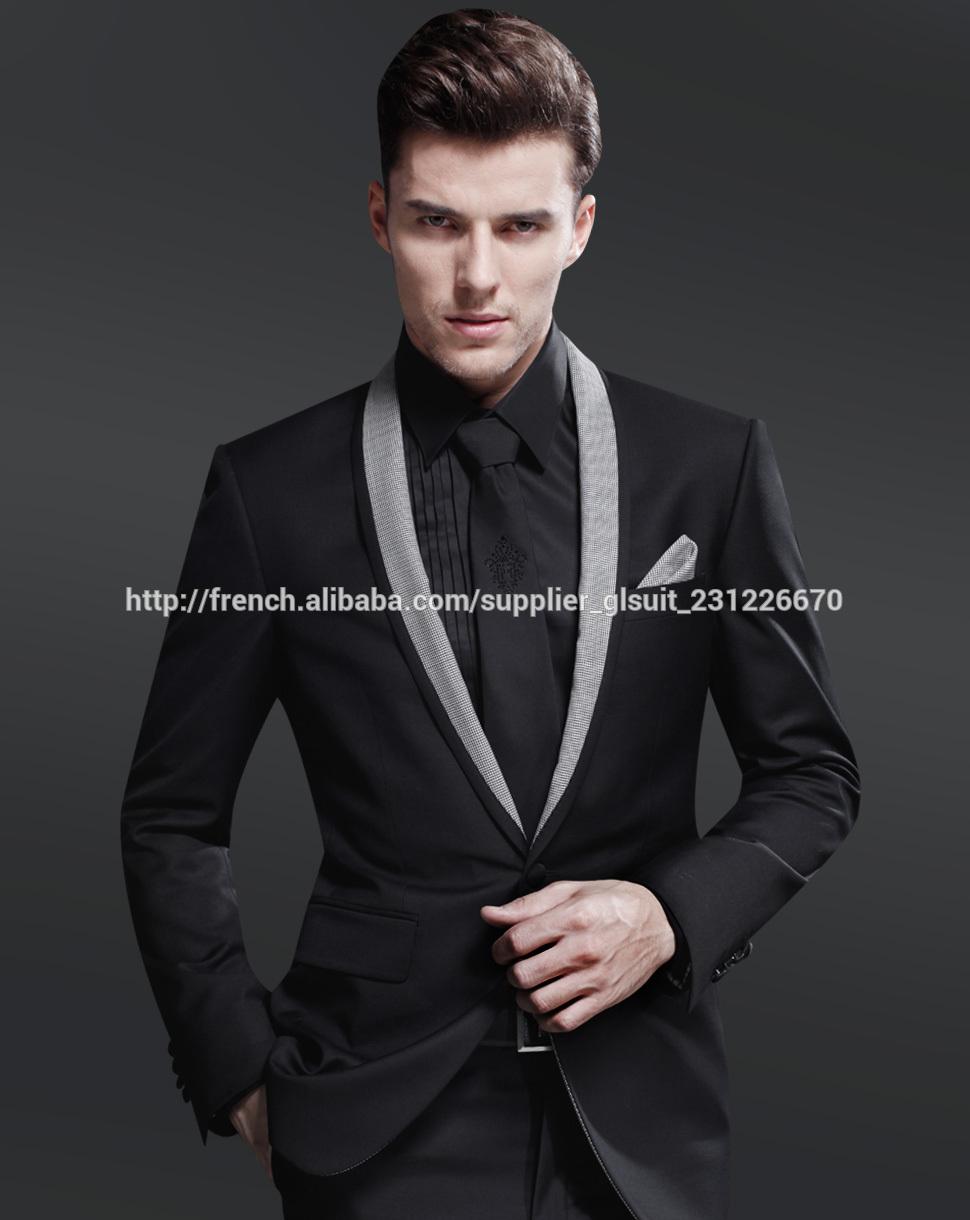 Bien connu Mariage costume 70% laine seul bouton châle de revers slim noir  KC93