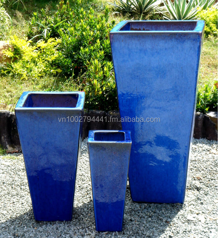 Where To Buy Ceramic Pots Part - 41: [wholesale] Tall Tapered Square Planters - Outdoor Glazed Pots - Ceramic  Flower Pots - Vietnam Pottery Manufacturers - Buy Clay Pots Terracotta Pots  ...