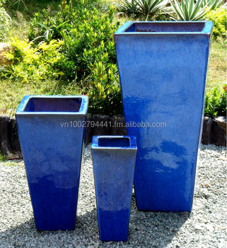 Wholesale Tall Tapered Square Planters Outdoor Glazed