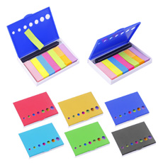 2 in 1 office compact case flat rectangle solid color plastic flip open 4 inches scale ruler 7 colors paper note sticker holder