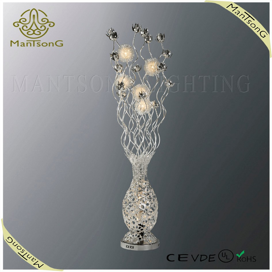 2017 high quality aluminum silver floor lamp flower vase g4 light source