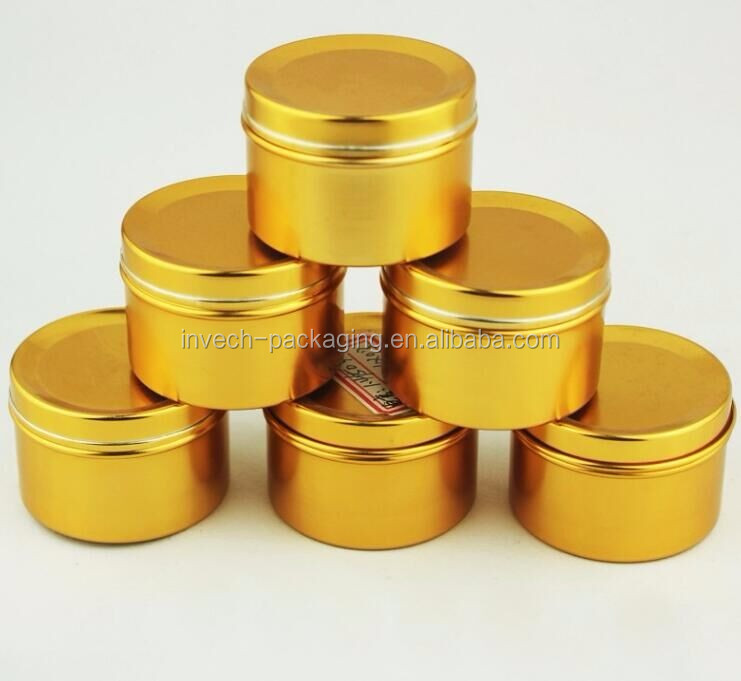 empty aluminum tin cans gold metal candle tins,6oz tin cans for candles