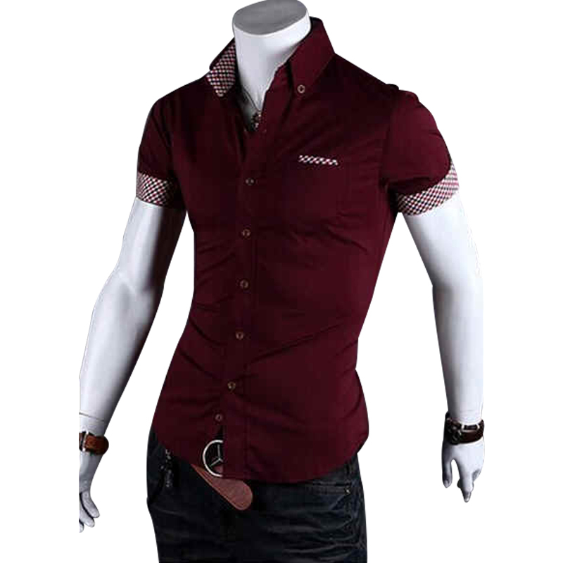 2015 Spring Top Brand New Slim Fit Shirt Men Short sleeve Korean Casual Dress Shirts Fashion Cardigans Camisa 4 colors M-2XL AX4