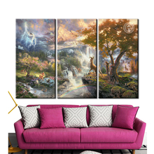 Canvas Wall Art Framed Oil Painting 3 Panel Mounted Canvas Prints Thomas Kinkade Deer Bambi Giclee Canvas Paintings