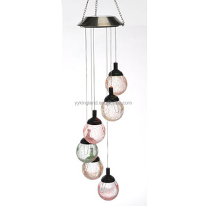 Kingland pendant solar lights sephere with 6 crackle glass ball wind chimes solar lamp outdoor