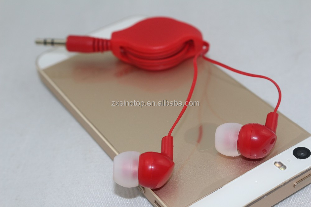 2015 stereo earphone with retractable cord with high quality stereo musie