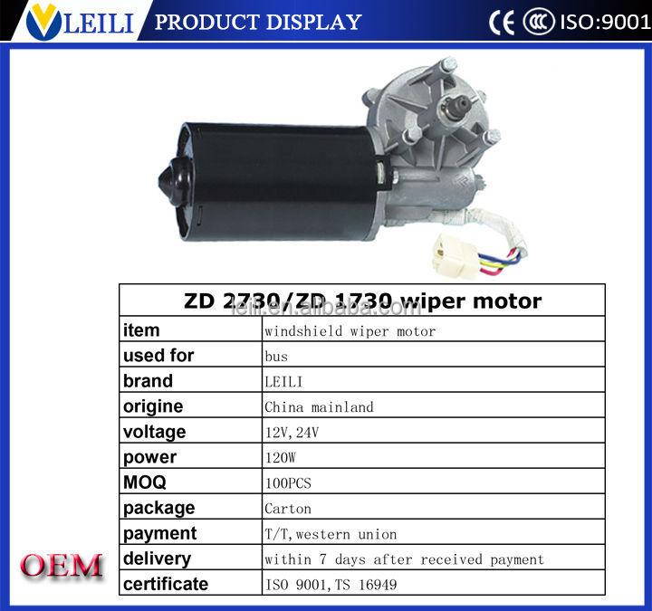 Car Parts Zd2730 120w 24v 12v Wiper Motor Specification