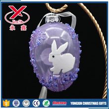 wholesale glass painted easter eggs with bunny for easter hanging decoration