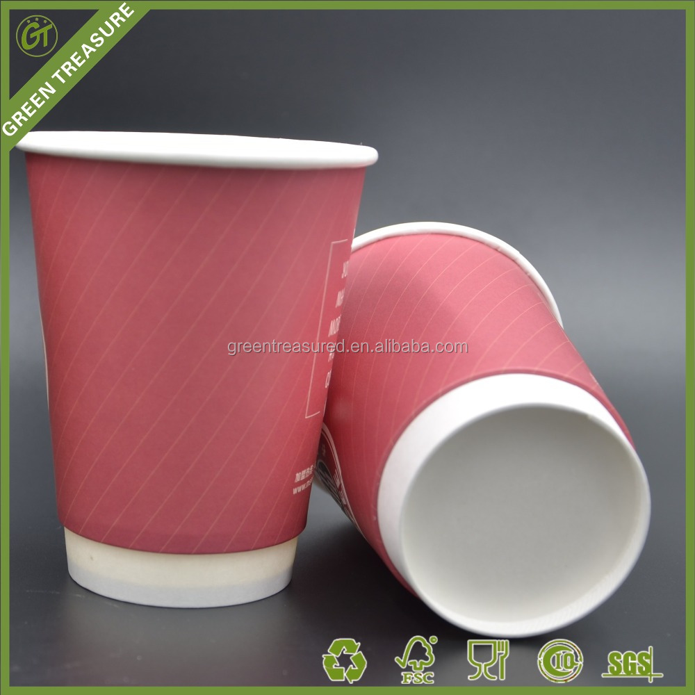 White Paper Board Bace Red Color Double Wall Coffee Cups with Lids And Straw Available take away paper cup