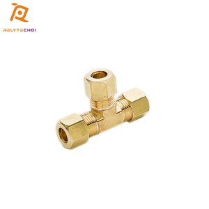 Brass compression union fitting 3 ways pipe joint tee union