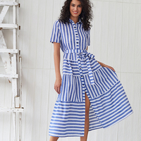 Concise design Blue and white stripe shirt dress ladies simple fashion short sleeve