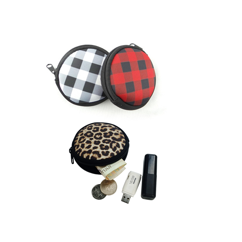 Round full printing leopard neoprene coin purse kids <strong>wallet</strong>