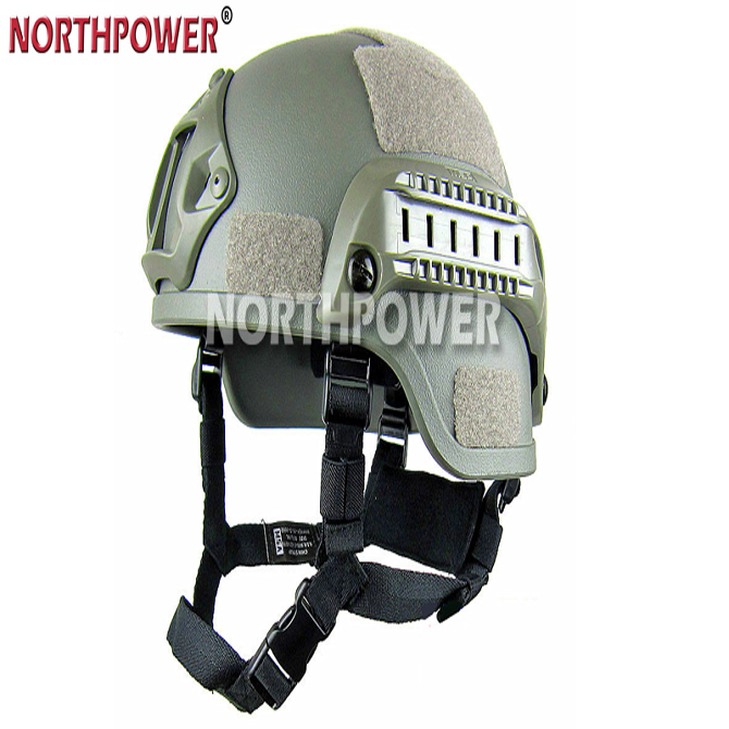 MICH 2000 Style ACH Plastic Tactical Helmet with NVG Mount and Side Rail