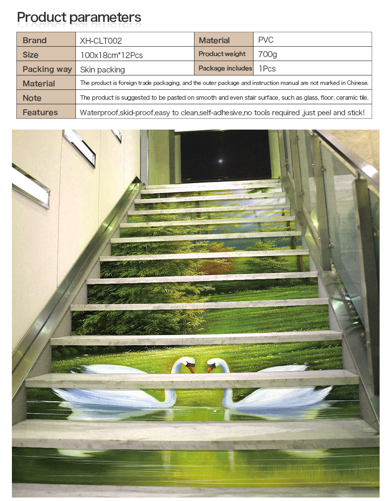 custom printed waterproof durable staircase eco-friendly pvc stair treads sticker