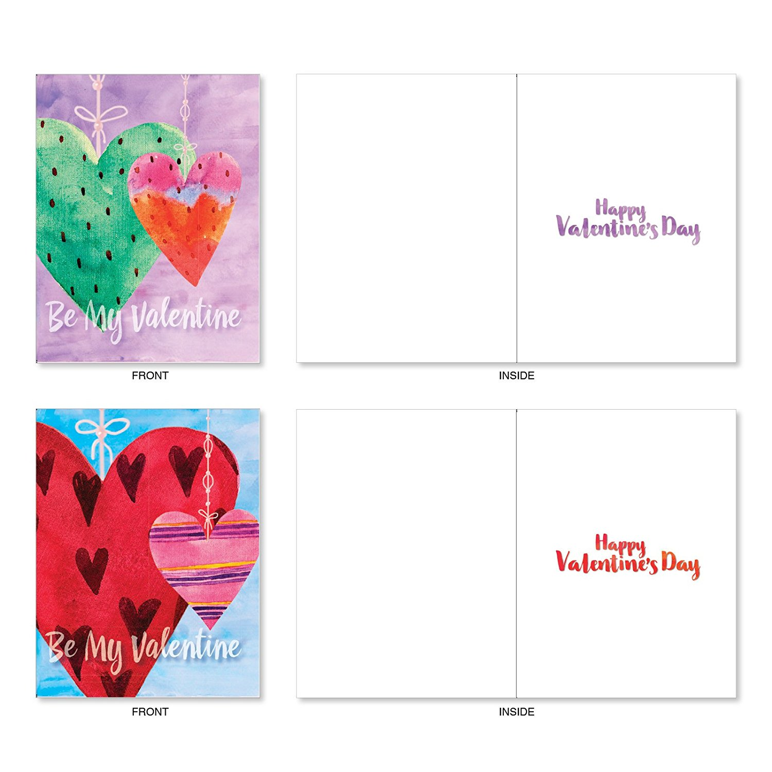 Valentine's Day Hearts Greeting Card with String and Envelopes