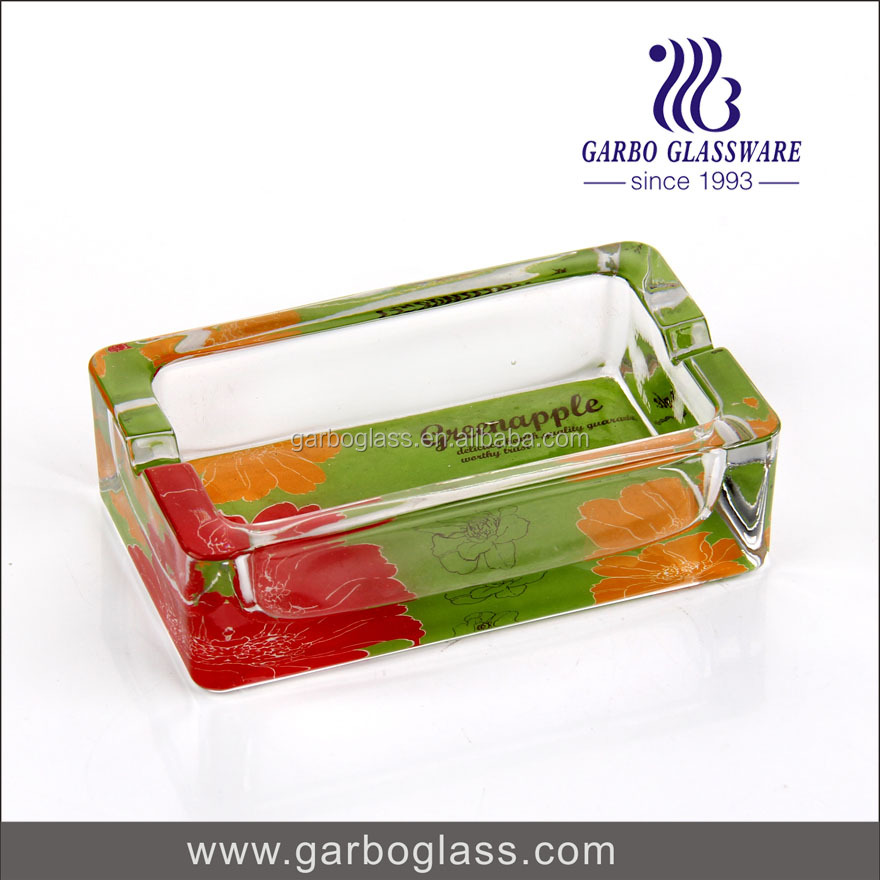 crystal clear glass ashtray printed square shape heat-resiatant cigarette ashtray good quality