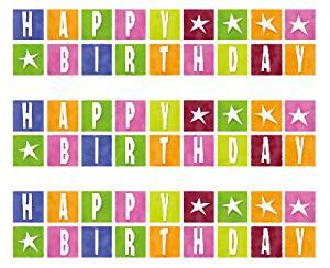 Happy Birthday Blocks Edible Cake Border Decoration