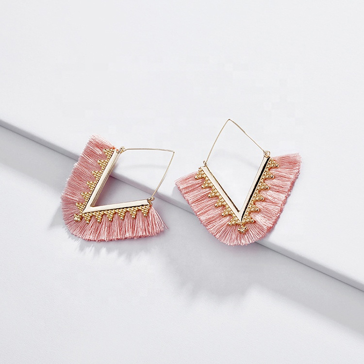 Fashion <strong>V</strong> shaped geometric dangle earrings women jewelry colorful bohemian silk tassel hoop earrings