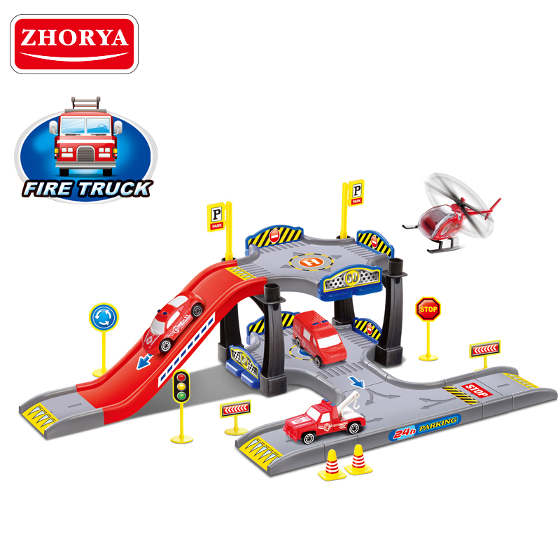 Parking lot with one freewheel car plastic material slot toys racing car parking garage play set for wholesale kids