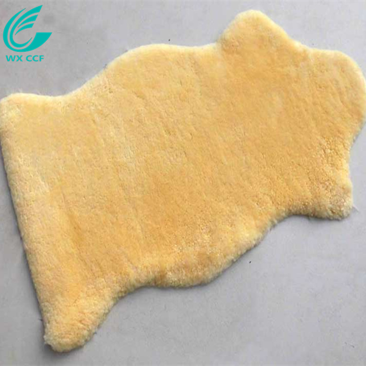 WXCCF cream sheepskin faux fur wool area rug