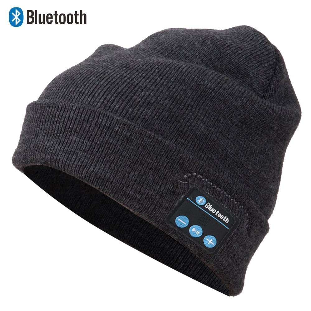 5e0248eeb4a Get Quotations · Bluetooth Beanie Hat with Detachable Stereo Speakers    Microphone Fleece-lined Unisex MBluetooth Beanie Hat