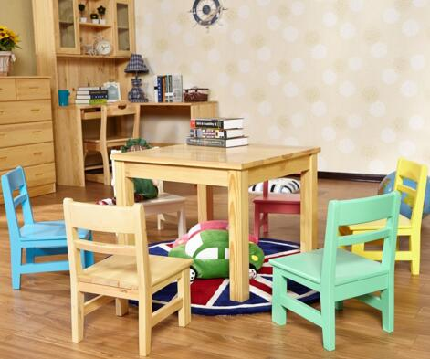 2017 Solid Wooden Kids Study Table and Chair Set