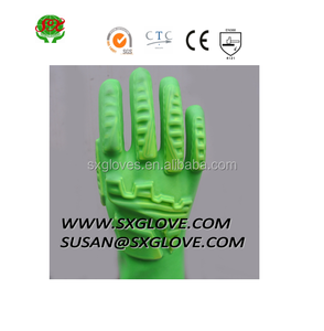 HOT SELL GREEN anti-Impact TPR PVC coated Gloves FOR CONSTRUCTION