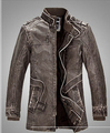 Winter men leather jacket with stand collar belt long section Slim type PU leather punk style