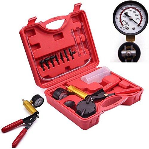 TBvechi Manual Vacuum Pump, Car Auto Hand Held Vacuum Pump Tester Set Brake Bleed Gauge Test Kit 30 Inch