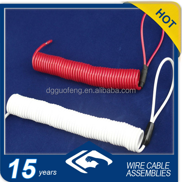 Red/White Spring Coil Lifting Cable With Knapsack Swivel Hooks