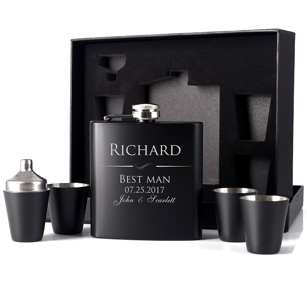 P Lab Groomsmen Gift - Groomsman Gifts For Men, Wedding Favor Customized 6 Piece Flask Set w Gift Box - Engraved 6oz Stainless Steel Hip Flask Custom Personalized Flask Gift Set, Matte Black #1