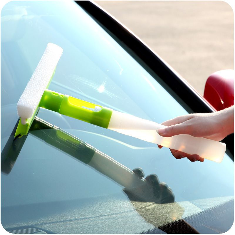 3 In 1 Folding Window Cleaner Glass Wiper Spray Type Rotatable Car Cleaning Brush with Sponge