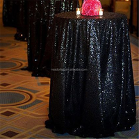 Sequin Black Mysterious Round Cheap Tablecloth
