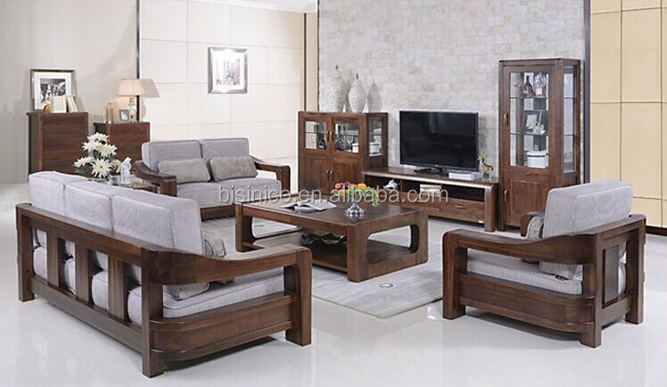 American Style Black Walnut Furniture Sofa Set, Noble Solid Wood Living Room  Fabric Sofa( Part 18